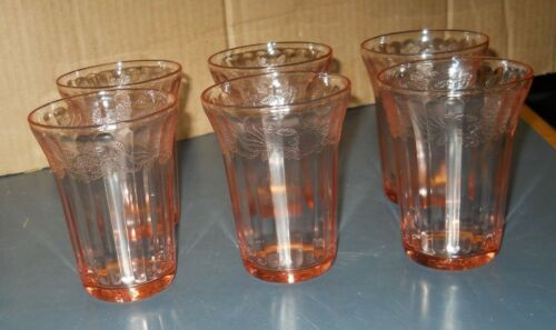 VINTAGE LOT 6 JEANNETTE PINK DEPRESSION GLASS CHERRY BLOSSOM TUMBLERS 4 1/4""