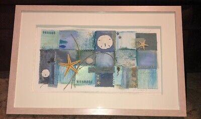 Jane Wolfgang Signed Art Mixed Media Real Sand Dollars Starfish Ocean