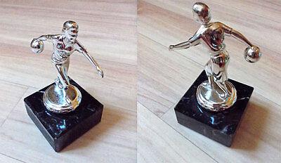 Pokal/Trophäe für Kegler/Bowler 12 cm hoch auf Marmorsockel