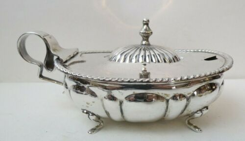 Italy 800 Sterling Silver Covered Mustard Pot with Fitted Liner 262 g Not Scrap