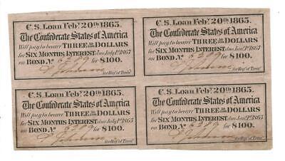 CSA Feb 3rd 1863 Confederate States of America Block of 4 Loan Bond Coupons Rare