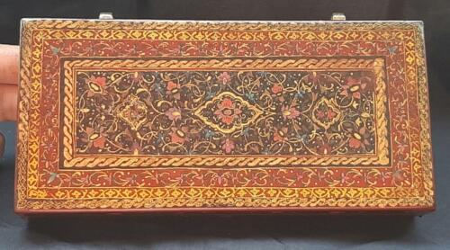 Museum quality antique islamic qajar  persian lacquered leather box. 19th C