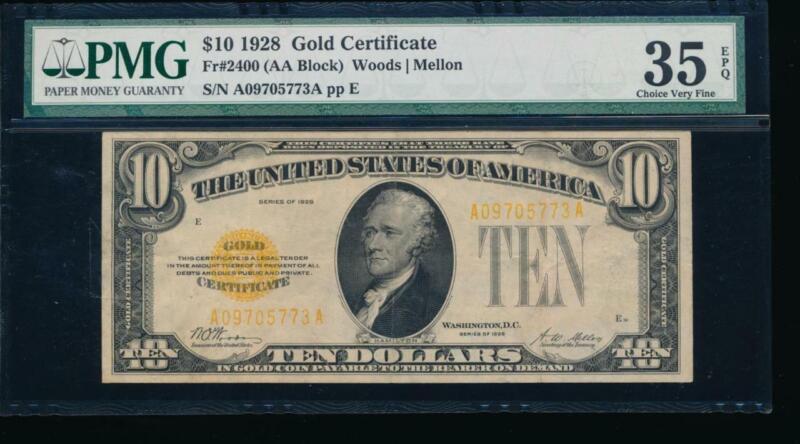 AC 1928 $10 Gold Certificate PMG 35 EPQ Fr 2400