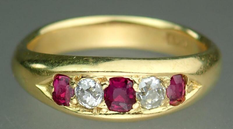Fine Antique Victorian 18K Gold Old Cut Diamond Ruby Gemstone Band Ring Size 6