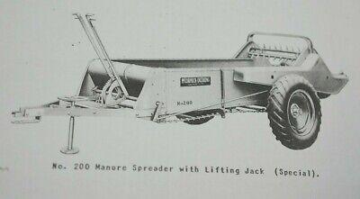 Ih Farmall Mccormick 200 Wheel Driven Manure Spreader Parts Owners Manual Sa C