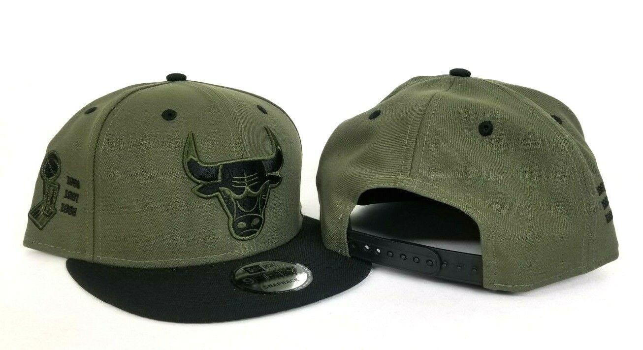 e19f674fa45d New Era Chicago Bulls Snapback Hat Olive Green -Black