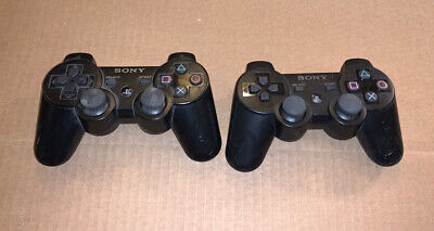Sony Playstation 3 (PS3) Sixaxis Wireless Controller Black Lot Of 2 Dual Shock 3