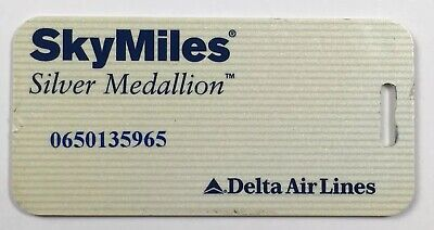 VTG Delta Airlines Frequent Flyer Skymiles Silver Medallion Status Luggage Tag  Flyer Luggage Tag