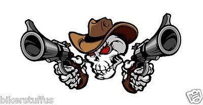COWBOY SKULL WITH GUNS HELMET STICKER HARD HAT STICKER LAPTOP STICKER iPhone  - Cowboy Hat Helmet