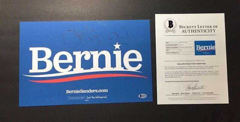Alexandria Ocasio Cortez Signed Bernie Placard Beckett Certified BAS Rare 1/1?