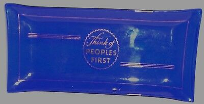 Vintage Small Dish Ash Tray Cobalt Blue Glass Gold Peoples First Bank Ad Promo