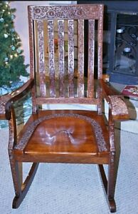 Beautiful Vintage Hand Carved Rocking Chair