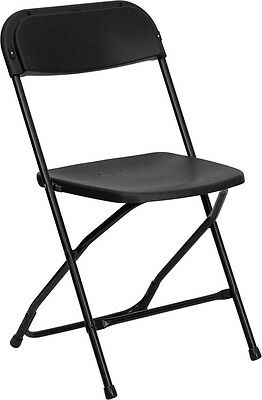 100 Pack 300 Lbs Weight Capacity Stackable Black Plastic Folding Chairs