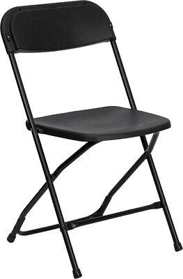 100 Pack 650 Lbs Capacity Commercial Quality Plastic Folding Chairs In Black