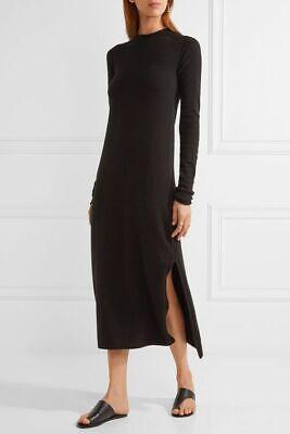 Helmut Lang Seamless Cashmere Midi Dress Black XS M NWT $695