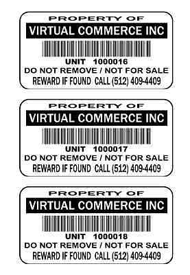 1000 2x1 Custom Printed Bar Code Weatherproof Asset Tags Labels Polyester White