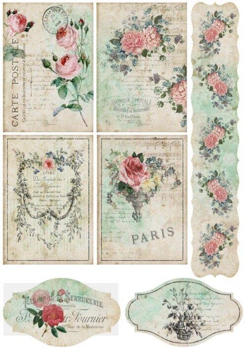 Decoupage-Bastelpapier-Softpapier-Serviettentechnik-Vintage-Shabby-12300