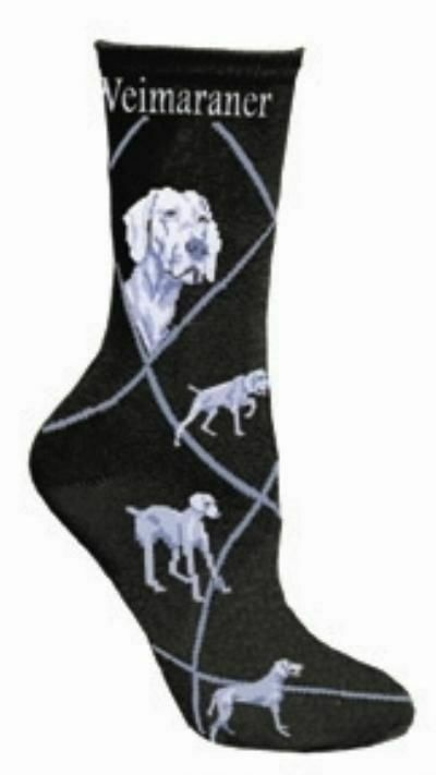 Adult Size Medium WEIMARANER Adult Socks/Black Made in USA