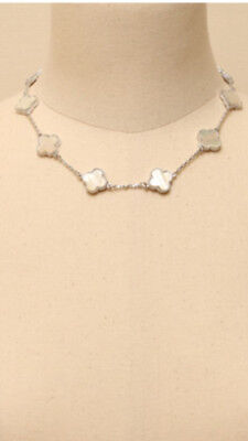 white mother of pearl motif silver plated necklace Mother Of Pearl Silver Plated Necklace