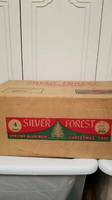 Vintage Silver Frost 4' Silver Aluminum Christmas Tree With Rare Stand