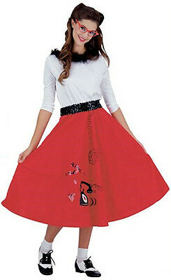 Sock Hop Girl (Jitterbug Girl Red Poodle Skirt 50s Sock Hop Fancy Dress Halloween Adult)