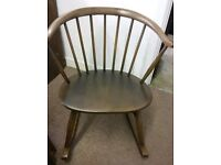 Vintage Retro Ercol Rocking Chair-Small Childs or Nursing Chair Rare. Cowhorn Design
