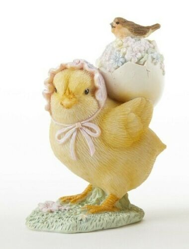 "CHICK w/ EGG on Back RESIN EASTER 3.5"" T Collectible Spring Farm Chicken Flowers"