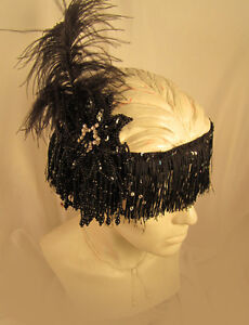 GATSBY 20'S FLAPPER LADIES WOMENS FRINGE HEADBAND BLACK WHITE TAUPE PINK