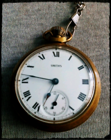 Smiths mechanical vintage pocket watch and chain.