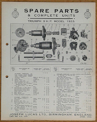 Triumph 9hp of 1933  Lucas Parts List 132  Others available