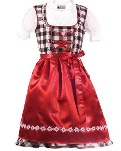 Girls,Kids,US sz 12,Germany,German,Trachten,Dirndl Dress,3-pc.RED,B-Ware