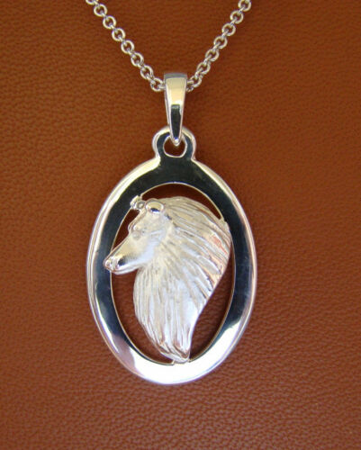 Sterling Silver Sheltie  Shetland Sheepdog Head Study On A Heart Frame Pendant