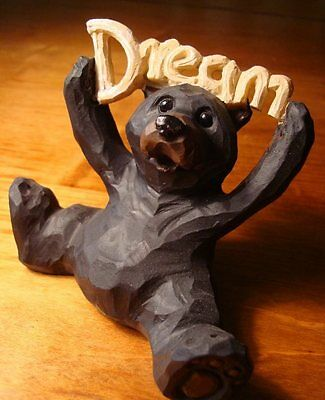 Faux Wood Carved BLACK BEAR HOLDING DREAM LODGE SIGN Cabin Figurine Home Decor