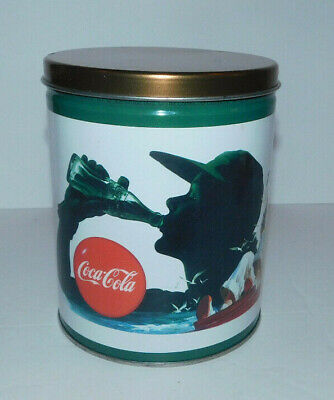 """NEAT COCA COLA TIN WITH VINTAGE SPORTS IMAGES """"PLAY REFRESHED"""""""
