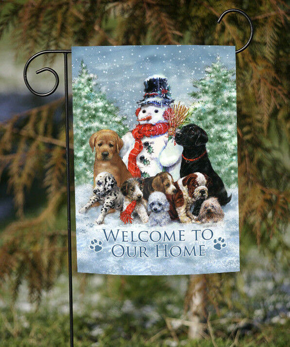 Toland Snowman With Pup 12.5 x 18 Welcome Home Winter Puppy