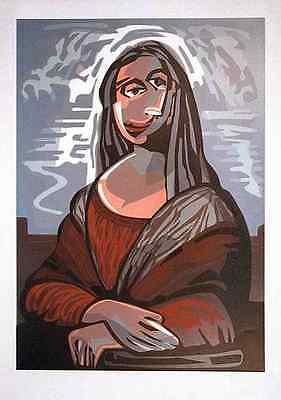 Martin SCHWARZ -GROTESKE PICASSO MONA LISA 1998 Handsignierter Originalsiebdruck