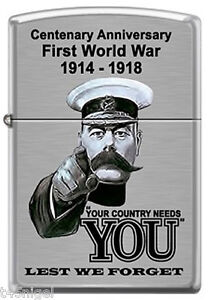 First-World-War-WW1-Your-Country-Needs-You-Zippo-Brush-Chrome-Lighter