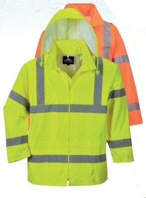 Green Jacket -  Safety Rain Jacket Reflective Green Hi-Vis Raincoat Rainjacket w Hood S-7XL
