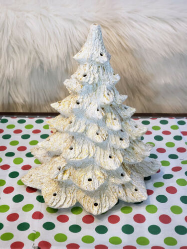 Vintage Ceramic Christmas Tree White Iridescent Gold Glitter 11""