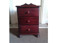 1x solid Pine 3 drawer bedside table