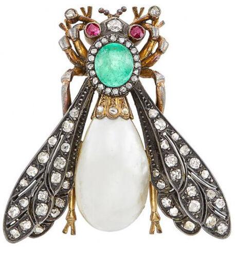 3.15ct Rose Cut Diamond Antique 925 Silver Ruby Emerald Pearl Gemstone Brooch