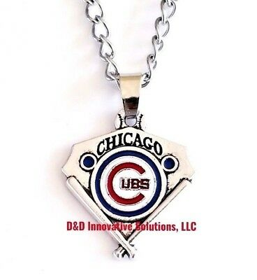 Chicago Cubs MLB Silver Necklace Chain Vintage Pendant Baseball Charm Unisex