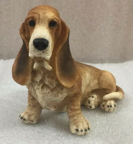 "Basset Hound Figure statue 5.25""L poly resin dog (#7)"