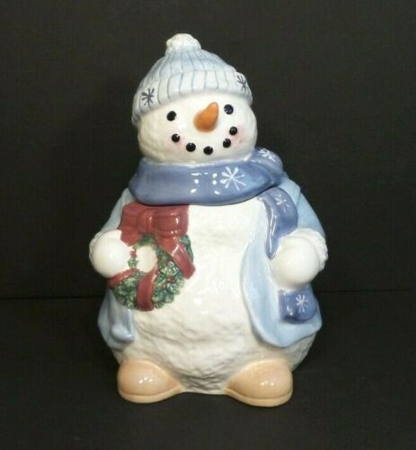 Adorable Pacific Rim Hand Painted Snowman Holiday Collectible Cookie Jar