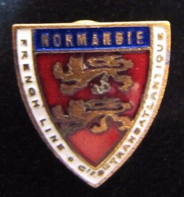Orig 1930s NORMANDIE FRENCH LINE TRANSATLANTIQUE Ocean Liner Pin Medallion Paris