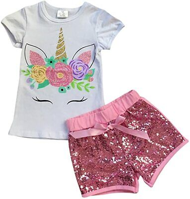 Toddler Girls 2 Pieces Short Set Unicorn Flower Shirt Tops Glitter Shorts Outfit