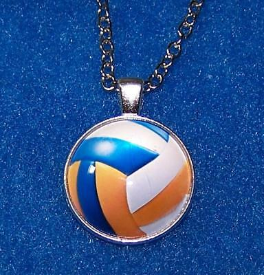 "VOLLEYBALL SOCCER SPORT pendant Silver 20"" Necklace women men mom FREE $10 GIFT"
