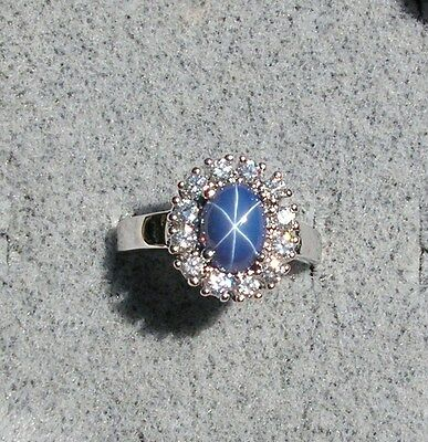 Halo Linde Lindy Crnflwr Blue Star Sapphire Created Second Ring Stainless Steel
