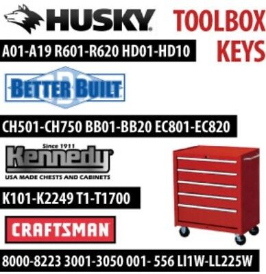 Snap On - Husky - Craftsman - Kennedy - Delta - Tool Box Replacement Keys