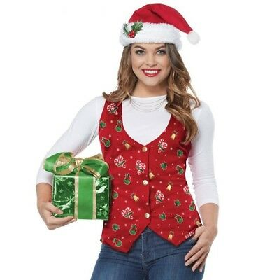Women's Holiday Party Xmas Red Candy Cane Christmas Bells Holly Vest Santa Hat - Candy Cane Costumes